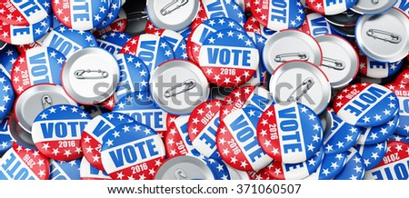 vote election badge button for 2016 background 3d Illustrations  - stock photo