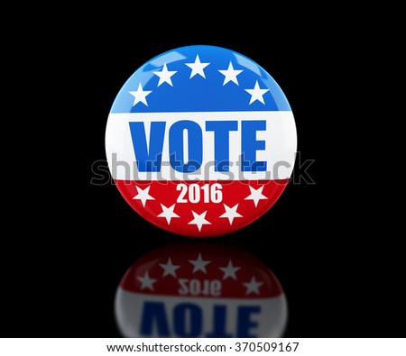 vote election badge button for 2016 3d Illustrations on black background - stock photo