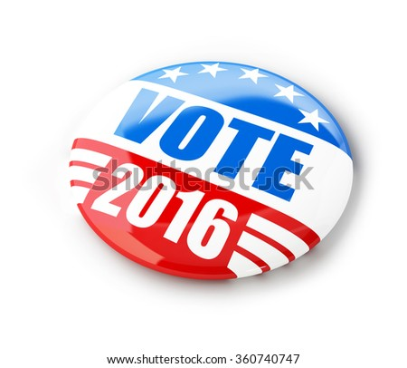 Vote election campaign badge button for 2016. 3d Illustrations on a white background - stock photo