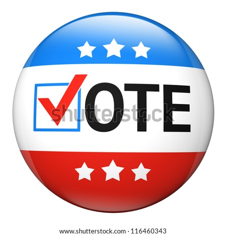 Vote election campaign glossy badge - stock photo