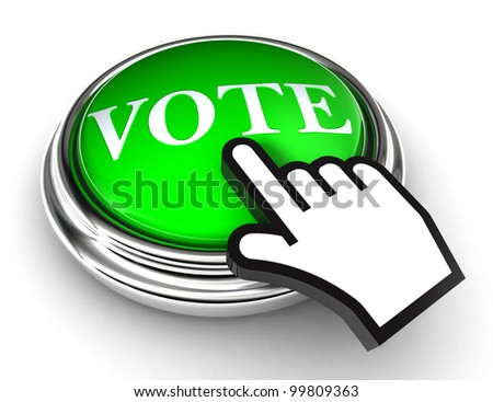 vote green button and cursor hand on white background. clipping paths included - stock photo