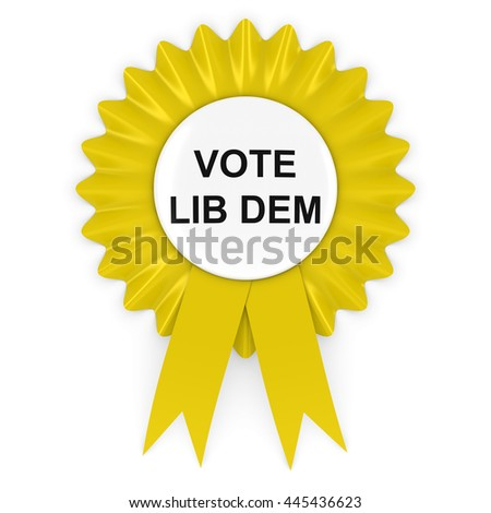Vote Lib Dem Yellow Rosette 3D Illustration - stock photo