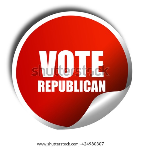 vote republican, 3D rendering, red sticker with white text - stock photo
