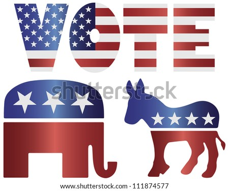 Vote Republican Elephant and Democrat Donkey with American USA Flag Silhouette Raster Vector Illustration - stock photo