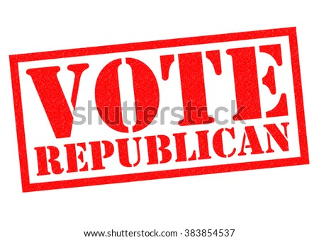 VOTE REPUBLICAN red Rubber Stamp over a white background. - stock photo