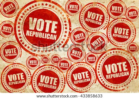 vote republican, red stamp on a grunge paper texture - stock photo