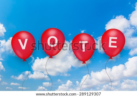 vote text on balloon with blue sky background - stock photo