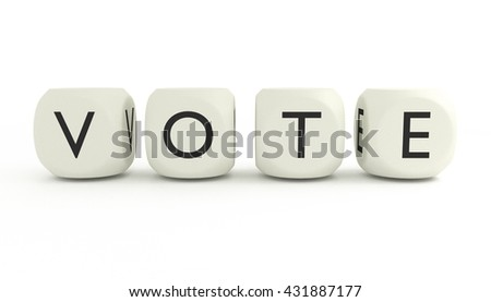 VOTE word written with dices and isolated on white background, close up, 3D render - stock photo
