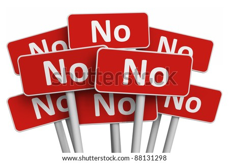 Voting and protest concept: Set of red No signs isolated on white background - stock photo