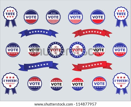 Voting Badges and Stickers for Elections in USA red, white and blue - stock photo
