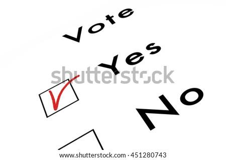 voting ballot, isolated on white, 3d illustration - stock photo