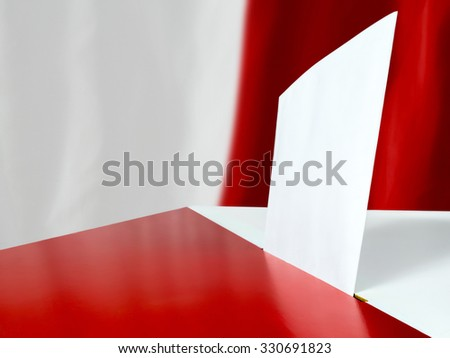 Voting card in the ballot box against Polish flag as background - stock photo