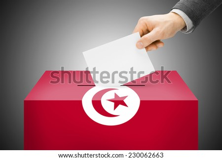 Voting concept - Ballot box painted into national flag colors - Tunisia - stock photo