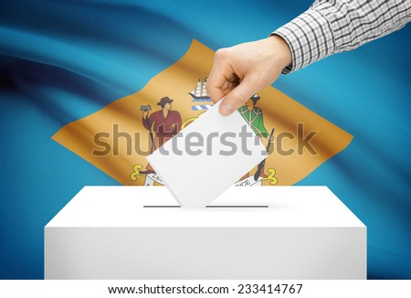 Voting concept - Ballot box with national flag on background - Delaware - stock photo