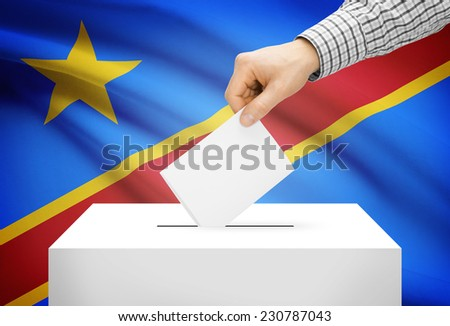 Voting concept - Ballot box with national flag on background - Democratic Republic of the Congo - stock photo