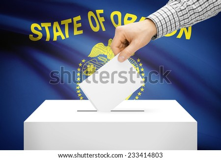Voting concept - Ballot box with national flag on background - Oregon - stock photo