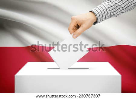 Voting concept - Ballot box with national flag on background - Poland - stock photo