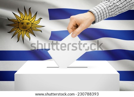 Voting concept - Ballot box with national flag on background - Uruguay - stock photo