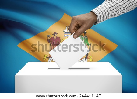 Voting concept - Ballot box with US state flag on background - Delaware - stock photo