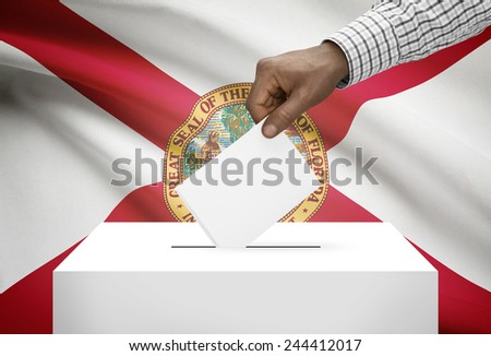 Voting concept - Ballot box with US state flag on background - Florida - stock photo