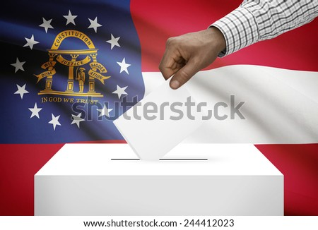 Voting concept - Ballot box with US state flag on background - Georgia - stock photo