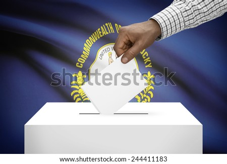 Voting concept - Ballot box with US state flag on background - Kentucky - stock photo