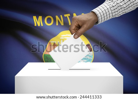 Voting concept - Ballot box with US state flag on background - Montana - stock photo