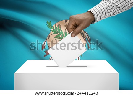 Voting concept - Ballot box with US state flag on background - Oklahoma - stock photo