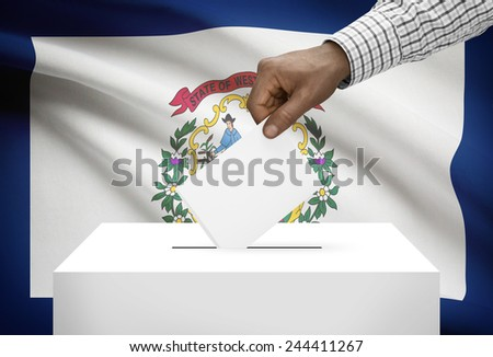 Voting concept - Ballot box with US state flag on background - West Virginia - stock photo