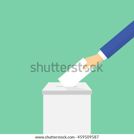 Voting concept in flat style. Hand puts the ballot in the ballot box - stock photo