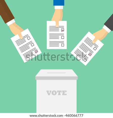Voting concept in flat style. Voters throw ballots in the ballot box - stock photo