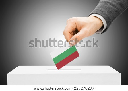 Voting concept - Male inserting flag into ballot box - Bulgaria - stock photo
