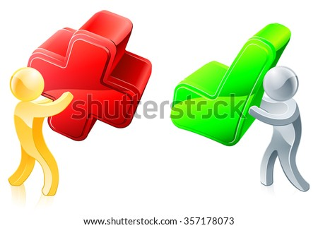 Voting concept of one man voting yes and one man voting no with across and tick - stock photo