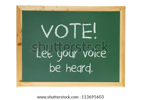 Voting Concept on Blackboard with White Background - stock photo
