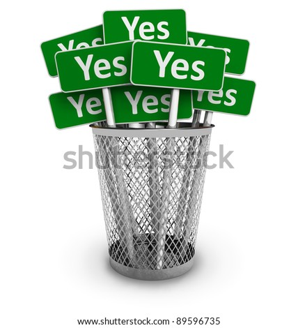 Voting concept: Set of green Yes signs in metal office bin isolated on white background - stock photo