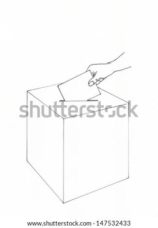 Voting with ballot box - stock photo