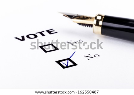 Voting yes or no check-box with fountain pen no marked with V - stock photo