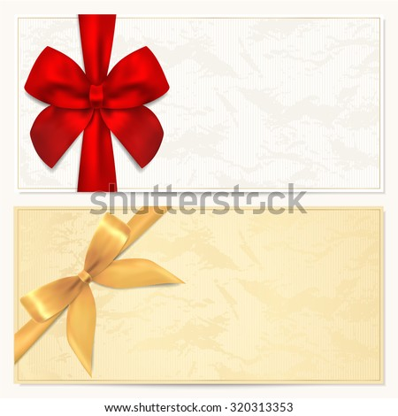 Voucher, Gift certificate, Coupon, Gift money bonus or Gift card blank template with red, gold bow (ribbon). Background for reward design, invitation, ticket, banknote, currency, check (cheque), flyer - stock photo