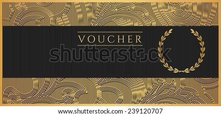 Voucher, Gift certificate, Coupon template. Floral, scroll pattern (bow, frame). Black and gold background design for invitation, ticket, banknote, money design, currency, check (cheque), reward  - stock photo
