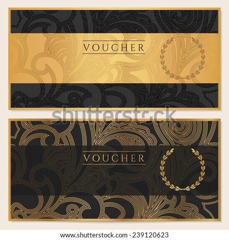 Voucher, Gift certificate, Coupon template. Floral, scroll pattern (bow, frame). Black, gold background design for invitation, ticket, banknote, money design, currency, check (cheque).  - stock photo