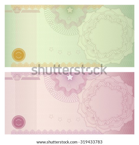 Voucher, Gift certificate, Coupon, ticket template. Guilloche pattern (watermark, spirograph). Blank background for banknote, money design, currency, bank note, check (cheque), ticket - stock photo