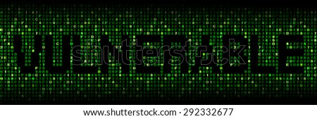 Vulnerable text on hex code illustration - stock photo