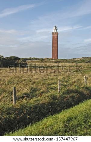 Vuurtoren Lighthouse, De Voordelta, Schouwen Island, Holland - stock photo