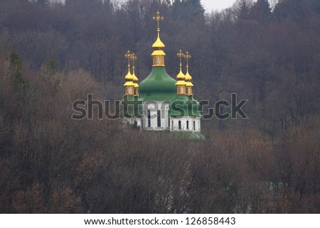 Vydubychi Monastery in Kiev (Ukraine) founded in the 11th century - stock photo