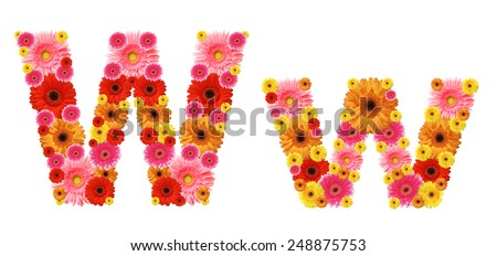 w, flower alphabet - stock photo