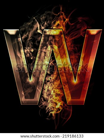 w, illustration of  letter with chrome effects and red fire on black background - stock photo