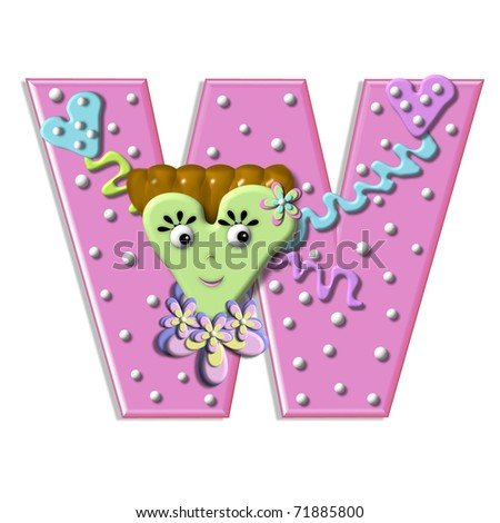 """W, in the alphabet set """"Heart Body"""", is decorated with ribbon, dots, flowers and a large heart shaped body complete with hair, eyes and smile.  Color is pink with white polka dots. - stock photo"""