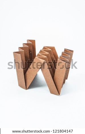 W-Origami alphabet letters recycled paper craft fold. - stock photo