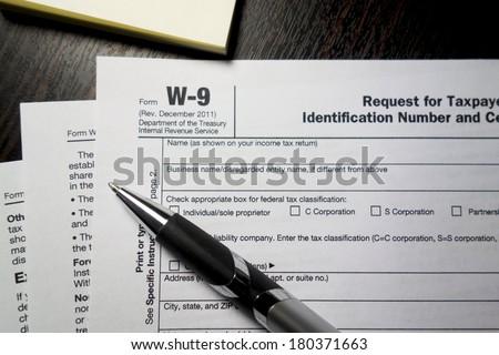 W9 Tax Form - stock photo