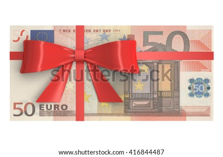 Wad of 50 Euro banknotes with red bow, gift concept. 3D rendering - stock photo